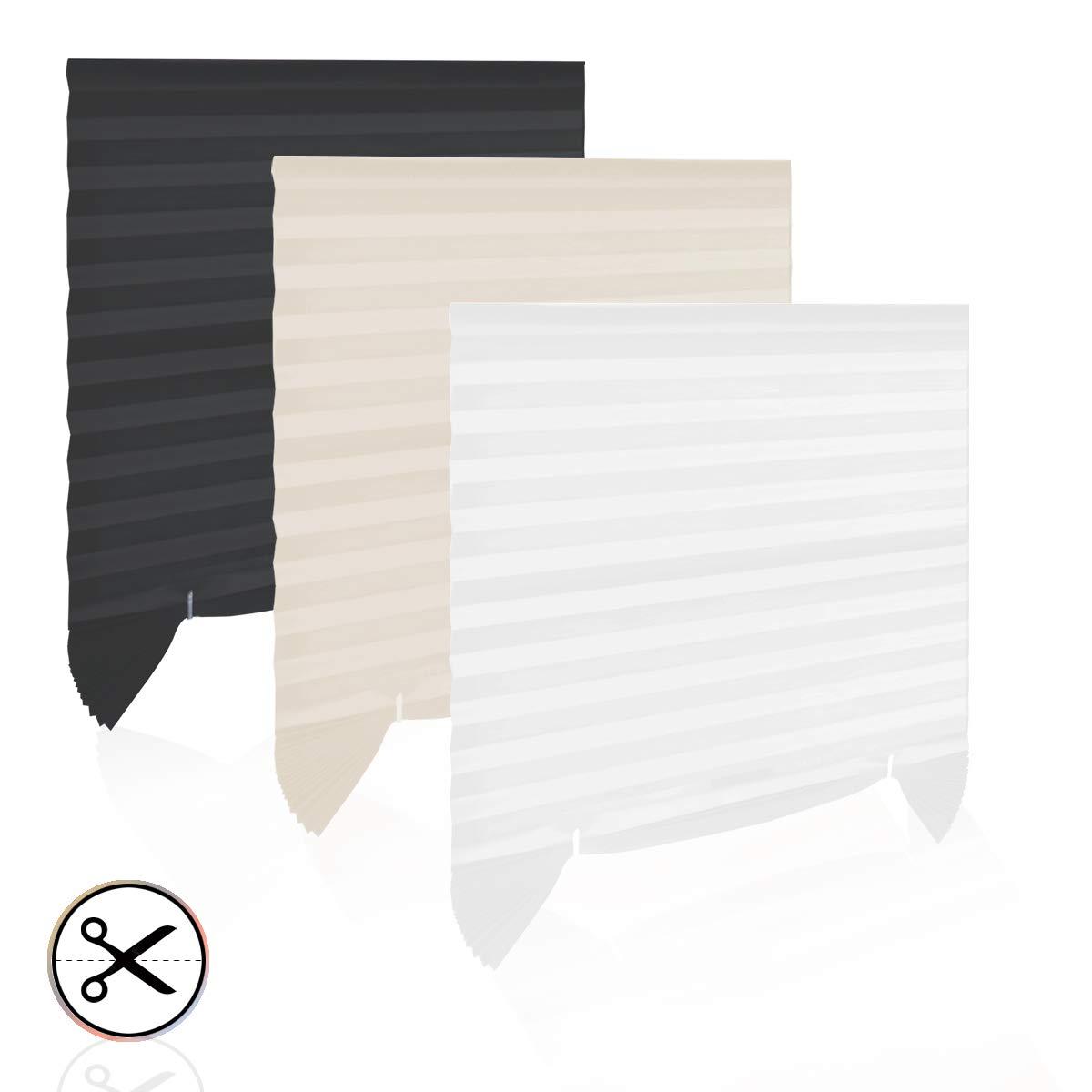 HOMEDEMO Tenda Plissettata Tende a Rullo Pieghettata con Colla Senza Perforazione può Essere Tagliato Easy Fix Tenda avvolgibile 110 x 182 cm Beige