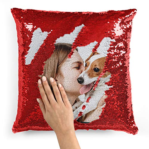 Custom Photo Sequin Pillow Cases   Red Mermaid Sequin Pillow Case w Any Picture   Magic Reversible Throw Pillowcases - Decorative Cushion, Pillow Cover for Sofa Couch - Home Decor Personalized Gifts