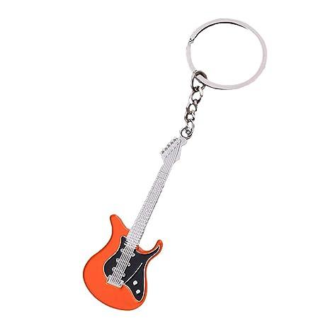 Nikgic 1pc Instrumento Musical Guitarra Llavero Pequeño Colgante de Regalo Personalidad de Moda Llavero Adornos para el Coche