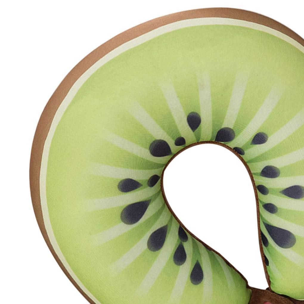 Dpolrs U Cuscino a Forma di Cuscino del Collo Cocomero Kiwi Arancione della Frutta del Fumetto Cuscini da Massaggio Collo Car Travel4
