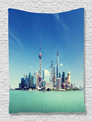 Pudong Shanghai China (Turquoise Tapestry China Cityscape Decor by Ambesonne, Shanghai Skyline and Pudong River Scene Skyscrapers Style, Bedroom Living Kids Girls Boys Room Dorm Accessories Wall Hanging, Turquoise Blue)