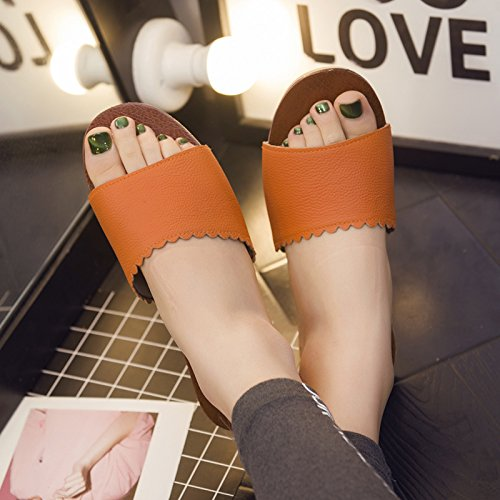 Slippers fankou Couples Floors Home 39 Soft Summer Cool 40 Slip Female Wooden Orange Current Thick Stay Tangerine Non Room Slippers OEXwrOFq