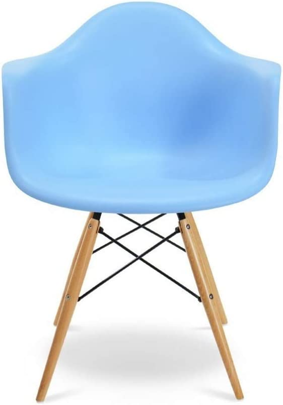 Light Blue Plata Import Eiffel Style Bucket Chair with Wood Legs Dining Chair