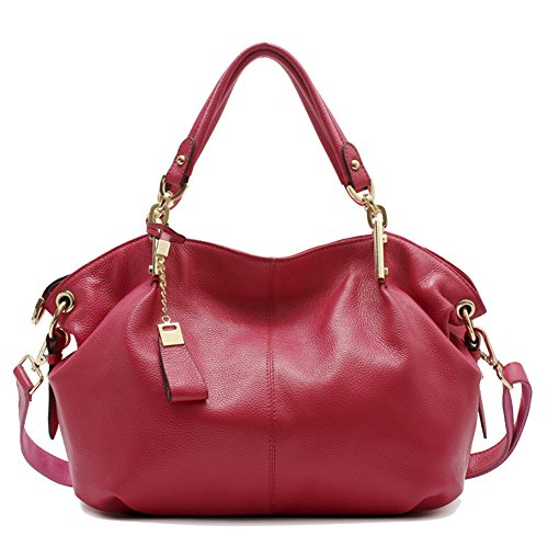 Obosoyo Women's Handbag Genuine Leather Tote Shoulder Bags Soft Hot Rose ()