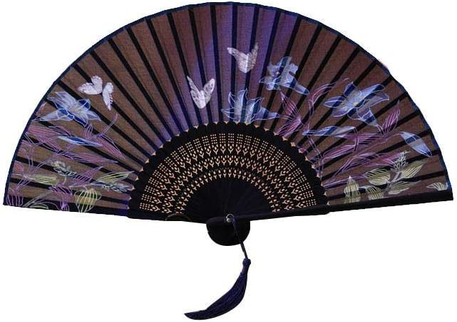 Leono Bamboo Folding Fan Japanese Style Handheld Cloth Fan for Dancing Props Church Wedding Gift Party Home Office DIY Decor