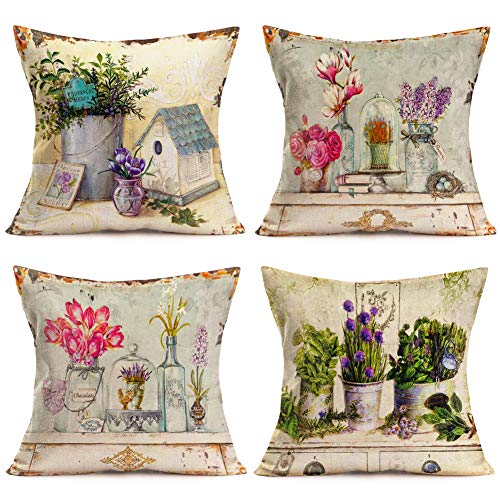 Fukeen Set of 4 Vintage Flower Throw Pillow Covers Cotton Linen Rose Lavender Decorative Pillow Cases Cushion Covers Rustic Home Garden Decor Square 18x18 Inches Pillowslips from Fukeen