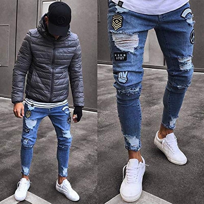QMGLBG S Größe Męskie Skinny Jeans Slim Fit Typ Stretch Denim Distressed getragen Lokomotive Scratch Flower Hollow Long Jeans Boy: Küche & Haushalt