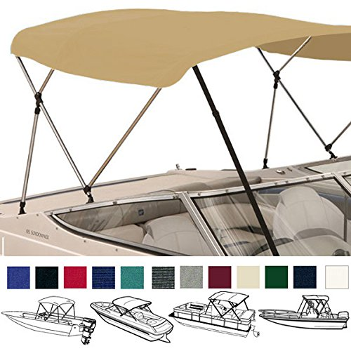 SavvyCraft Bimini TOP Boat Cover Beige 3 Bow 72' L 36' H 73' - 78' W - W/Boot & Rear Poles Brightpicks