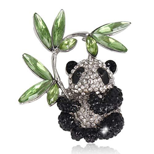 EVER FAITH Austrian Crystal Enamel Adorable Panda with Bamboo Brooch Pin Black Silver-Tone ()