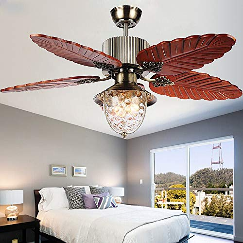 Andersonlight Palm 52-Inch Tropical Indoor Ceiling Fan with LED Bowl Light & Remote Control Fan, Five Hand Carved Wooden Leaf Blades, Quiet Home Fan Chandelier Light, 52 inches, Antique Brass