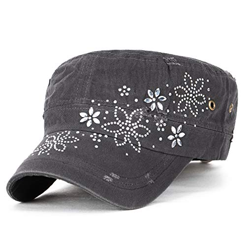 - ililily Crystal Gemstone Stud Flower Vintage Cotton Military Army Hat Cadet Cap, Charcoal Grey