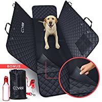 Double-Protection(TM) Waterproof Pet Car Seat Cover. Hammock & Protective Bench Liner Mat Avoids Dog & Cat Hair/Dirt In Trucks & SUVS. BONUS Seat Belt Restraint, Water Bottle and Storage Bag.