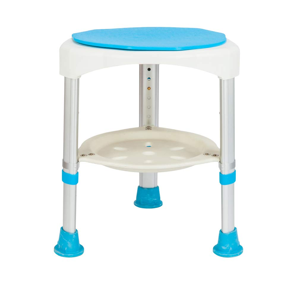 Mefeir FDA Approved Durable Anti-Slip Shower Chair with 360° Swivel Seat, Includes Storage Shelf, Bath Stool, Bench, Adjustable Height, Aluminum Alloy Super Sturdy Frame, Strong Capacity