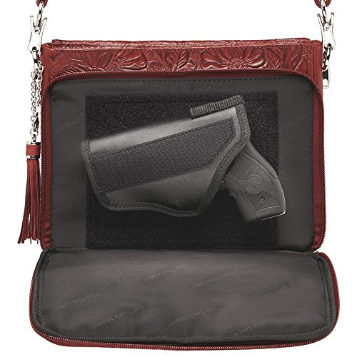 American Carry Tote'n Gun Cherry Tooled Purse Leather Concealed Mamas Cowhide t0twqB1