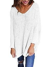 Shirt Women Long Sleeve Blouse V-Neck Pullover Oversized Baggy Crochet Knitted Jumper
