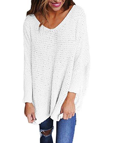 StyleDome Women's Long Sleeve Shirt Blouse V-Neck Pullover Oversized Baggy Crochet Knitted Jumper White L