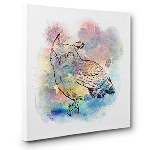 Watercolor Owl CANVAS Wall Art Home Décor