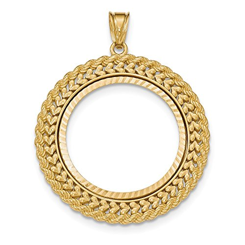 14k Yellow Gold Double Row Prong 1/2ae Bezel Necklace Pendant Charm Coin Holders/bezel American Eagle Fine Jewelry Gifts For Women For Her