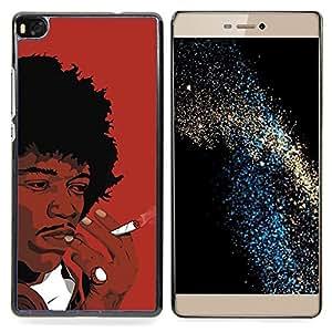 GIFT CHOICE / Teléfono Estuche protector Duro Cáscara Funda Cubierta Caso / Hard Case for Huawei Ascend P8 (Not for P8 Lite) // Black Man Smoking African Curly Hair Art Drawing //