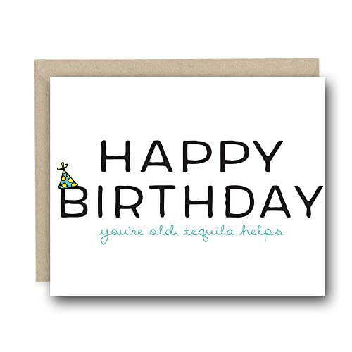 Amazon funny birthday card happy birthday youre old funny birthday card happy birthday youre old tequila helps birthday card bookmarktalkfo Image collections