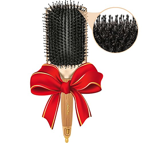Flat Paddle Hairbrush with Natural Boar Bristles – Detangle & Smooth All Hair Types for Men or Women - Must-Have Salon Styling Tool for Smooth Shiny Hair