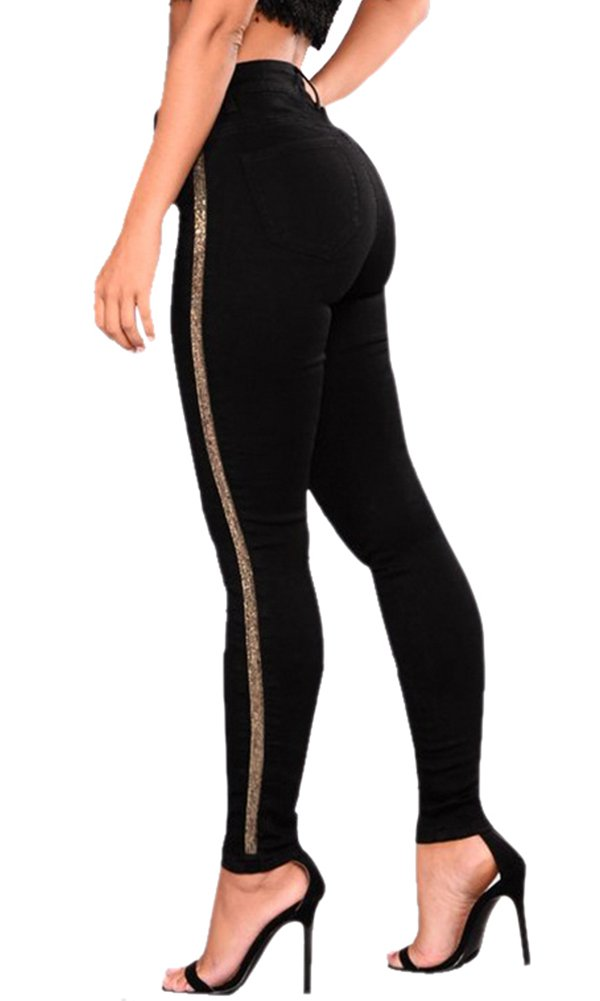 lexiart Pencil Jeans Mid-Rise Sexy Shaping Slimming Gold Bling Side Black 2018 Spring Summer Fall L 6