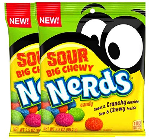 NEW Nerds Sour Big Chewy Perfect Snack For Packed Lunches Sweet & Crunchy Outside, Sour & Chewy Inside Net Wt 3.5Oz (2)