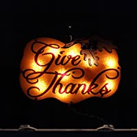 "16"" Lighted ""Give Thanks"" Pumpkin Thanksgiving Window Silhouette Decoration"