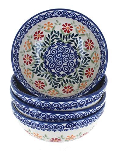 Blue Rose Polish Pottery Garden Bouquet 4 PC Dessert Bowl Set