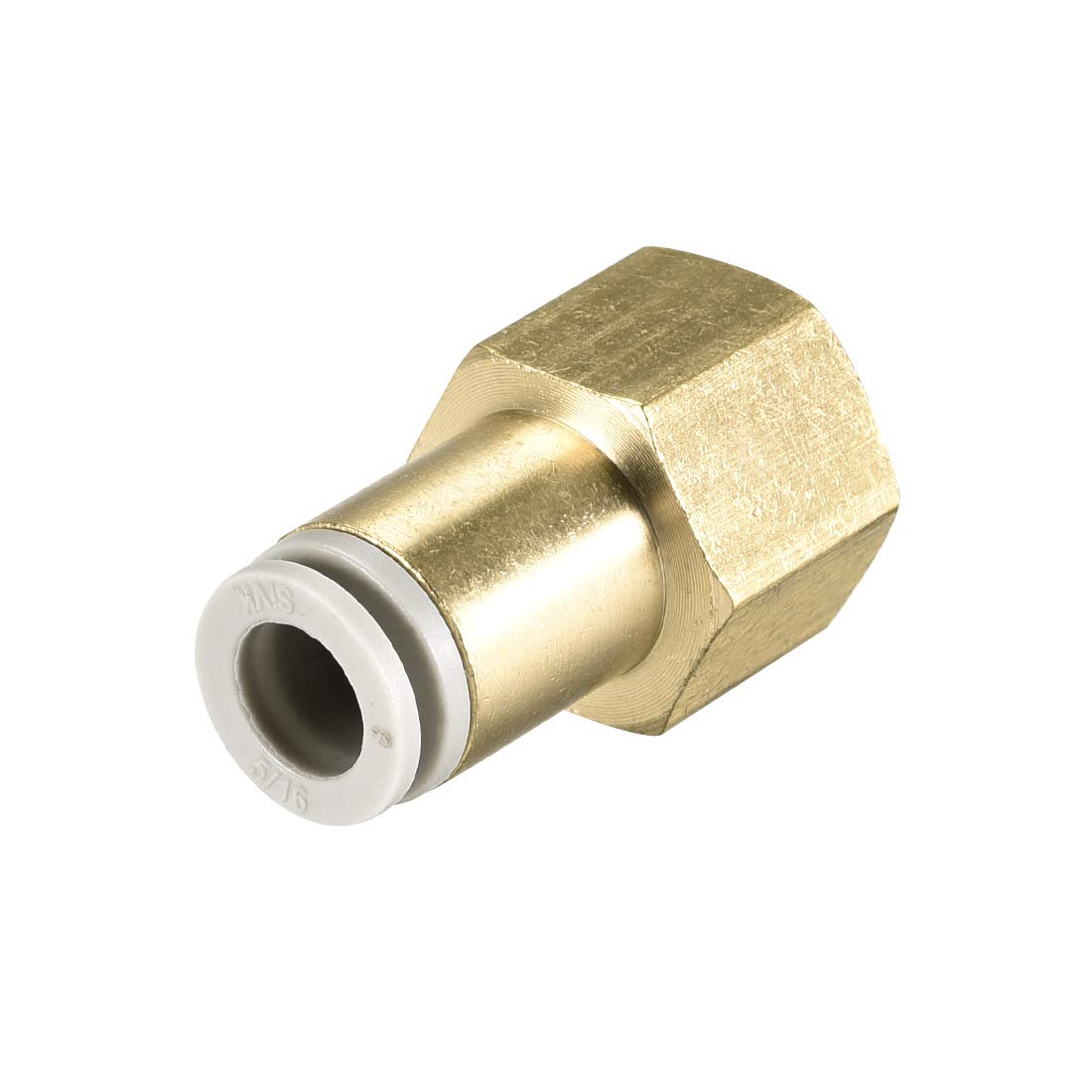 uxcell Push to Connect Tube Fittings 8mm Tube OD x 3//8 PT Female Straight Pneumatic Connecter Pipe Fitting Golden Tone