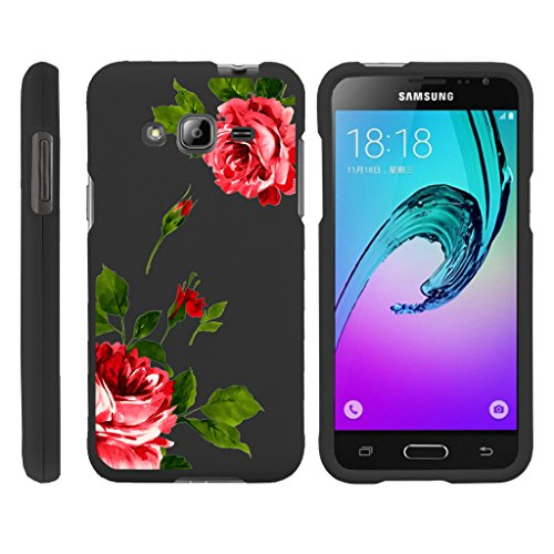 MINITURTLE Case Compatible w/ Miniturtle [ Samsung Galaxy J3 Case, Amp Prime Hard Case, Express Prime Slim Cover, Galaxy Sol Case, J3V] [Snap Shell] 2 Piece Hard Plastic Case Affectionate Flowers