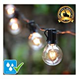 25Ft Waterproof String Lights with Clear G40 Globe Bulbs, Indoor/Outdoor Use, Weatherproof for Garden Decorations & Party, Holiday, Wedding, Patio, Porch, Party, Tents, Backyard, Gazebo, Market, Caf