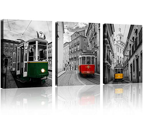 - TutuBeer 3 Pcs Black and White Yellow Tram on Narrow Street of Alfama, Lisbon Red Car Canvas Green Train Canvas Art Europe Colorful Bus 3 Panel Set Wall Art Decor Canvas Stretched and Framed Ready