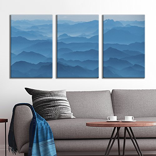 wall26 - 3 Panel Canvas Wall Art - Majestic Natural Landscape Triptych Canvas Series - Abstract Blue Mountain Peaks - Giclee Print Gallery Wrap Modern Home Decor Ready to Hang - 16
