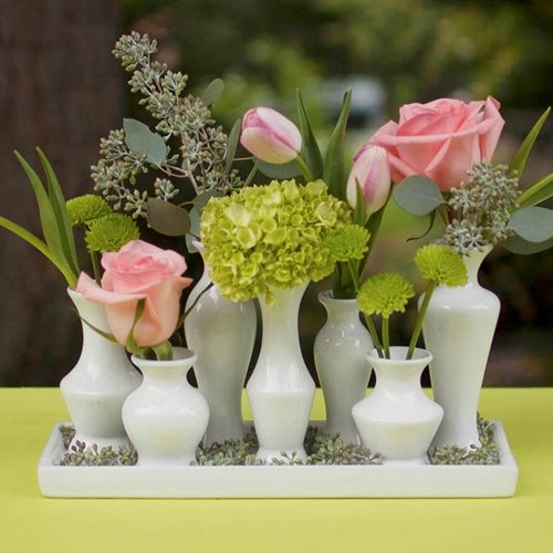 Ceramic Vase Cluster on Tray Set, Modern Centerpiece, White ()
