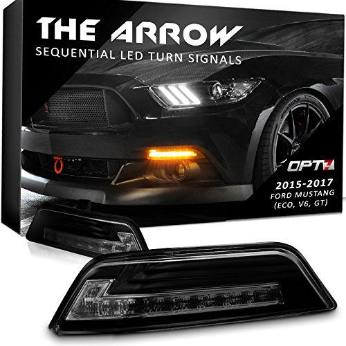 Amber Tail Light Cap (Arrow Sequential Mustang LED Front Turn Signal Pair w/Switchback DRL for 15-17 - White Amber Light Left Right [Smoked])