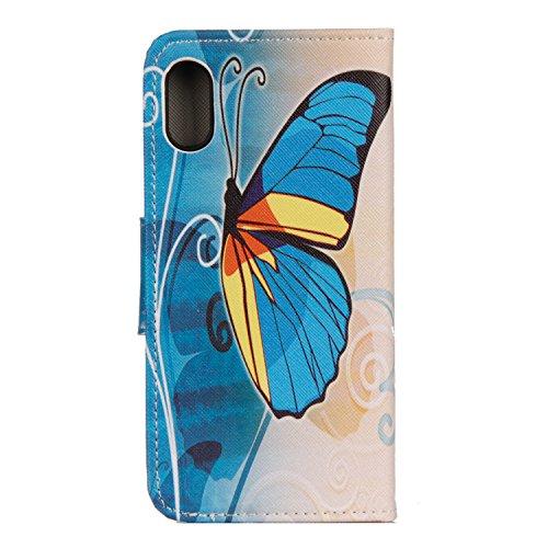 iPhone X Hülle blauer Schmetterling PU Leder Wallet Handytasche Flip Etui Schutz Tasche mit Integrierten Card Kartensteckplätzen und Ständer Funktion Für Apple iPhone X / iPhone 10 (2017) 5.8 Zoll + Z