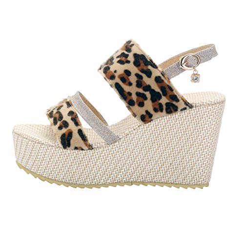 Print Womens Foot Gold Wedges Toe Charm Platform Open Leopard Sandal t7OWnvq