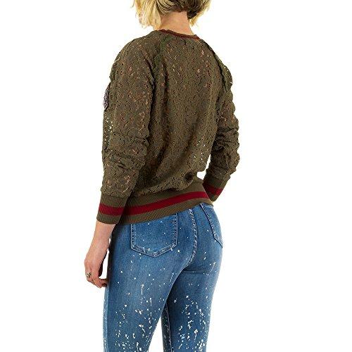 Spitzen Sweatshirt Für Damen , Grün In Gr. M bei Ital-Design