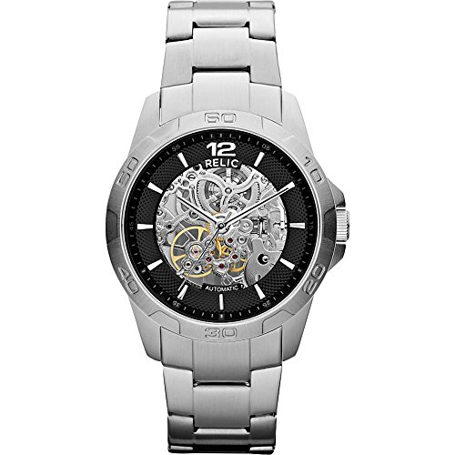 Relic mens silvertone bracelet watch
