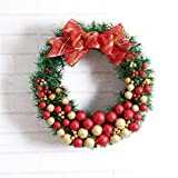 12'' Christmas Garland with Hanging Balls Flowers and Letters Wall Door Garland Decoration (Red)