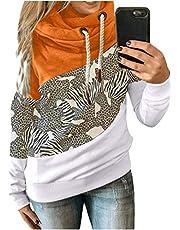 Ayhuang Dames Kerstmis sweatshirt lange mouwen Kerstmis pullover hoodie lange mouwen kleurblok gebreide trui sport longsleeve kersttrui Xmas trui mode losse blouse bovenstuk
