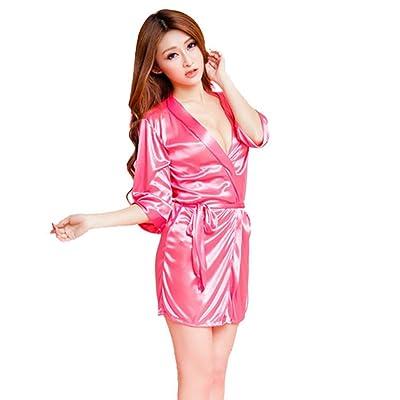 ADESHOP Femmes Mode Classique Peignoir Lingerie Femmes Soie De Glace Longue Jupe Peignoirs Chemise De Nuit Femmes Couleur Pure Pansements Lingerie