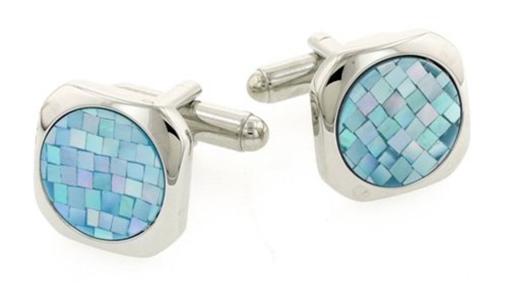 Blue Mother of Pearl Cufflinks. Made in The USA.