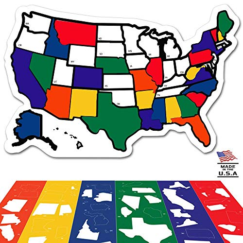 RV State Sticker Travel Map – 13″ x 17″ – USA States Visited Decal – United States Non Magnet Road Trip Window Stickers – Trailer Supplies & Accessories – Exterior or Interior Motorhome Wall Decals