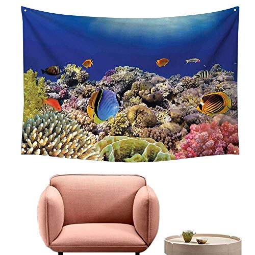 (Agoza Tapestry Wall Hanging Ocean Wild Sea Life Colorful Ancient Coral Reefs Exotic Fishes Bali Indonesia Stylish Minimalist Fresh Style 74