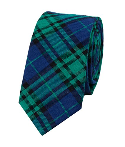 Levao Men's Cotton Plaid Tie Skinny Necktie - Stewart Tartan Tie