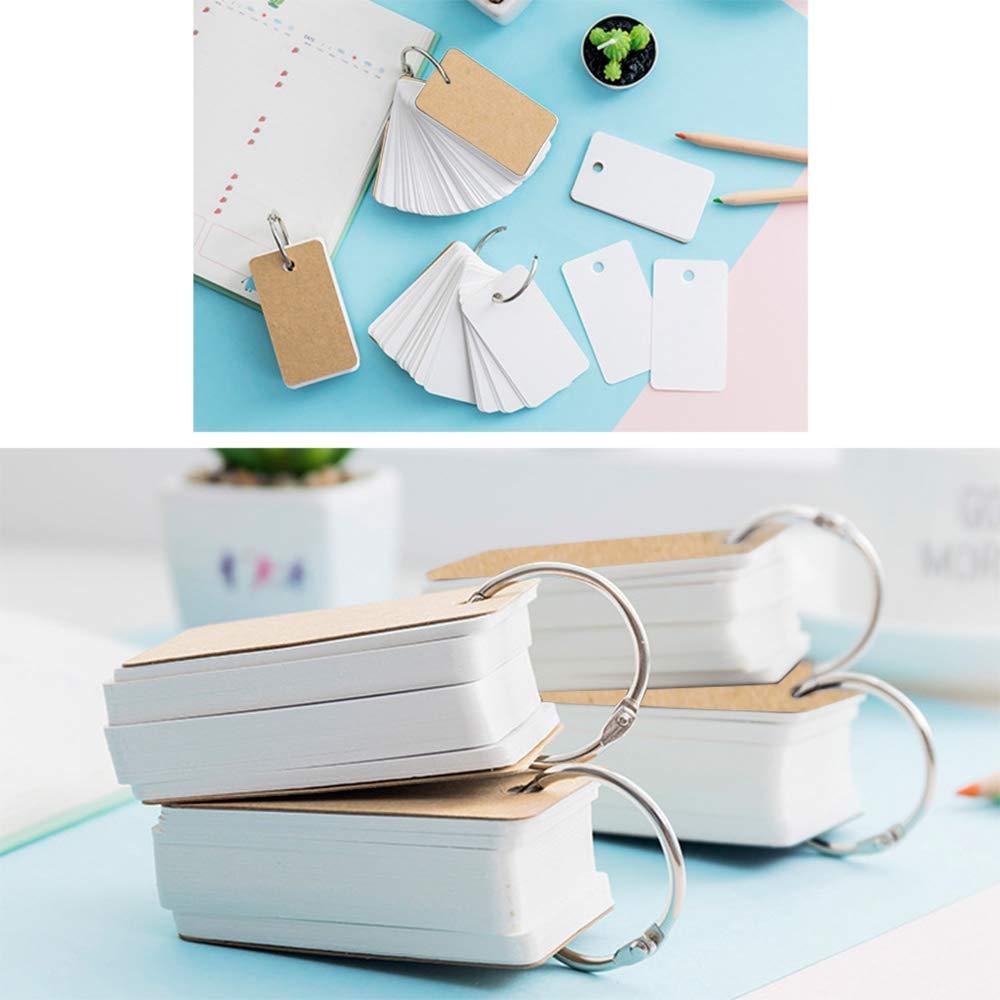 5 St/ück Karteikarten Blanko Kraftpapier Einfache Flip Mini Lernkarten 1.6 x 2.7 Zoll Lernkarte Study Cards Pocket mit Ring