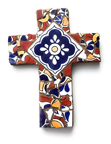 Mexican Tile Talavera Mosaic Wall Cross 9 inch X 6 inch Blue Red White and Yellow Mexican Ceramic tile, (Blue Cross Mosaic)