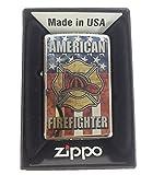 Zippo Custom Lighter - American Firefighter Shield USA Flag Logo Fuzion - High Polish Chrome